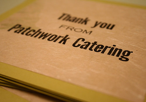Patchwork Catering Letterpress Thank You Card